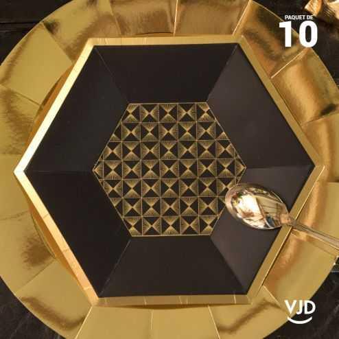 10 assiettes héxagonales noir et or Art Déco