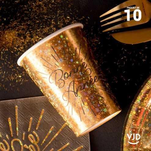 10 Gobelets carton déco Bonne Année étincelant 20 cl