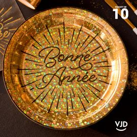 10 assiettes rondes or Bonne année 22,5 cm