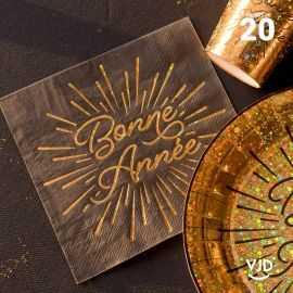 20 Serviettes papier Bonne année étincelant 16,5 X 16,5 cm