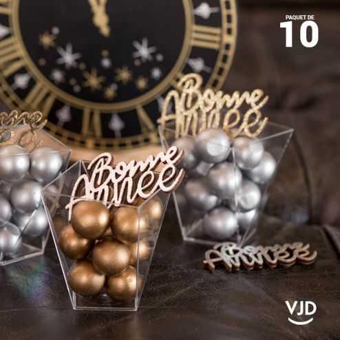 10 confettis Bonne Année dorés et argentés