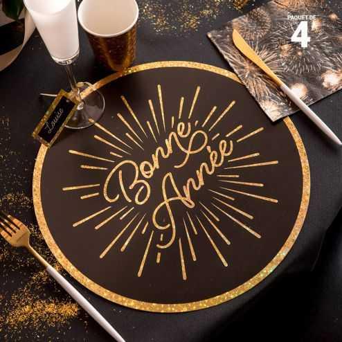4 sets de table carton Bonne Année étincelant 34 cm