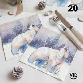 20 Serviettes papier Ours polaire 16,5 X 16,5 cm
