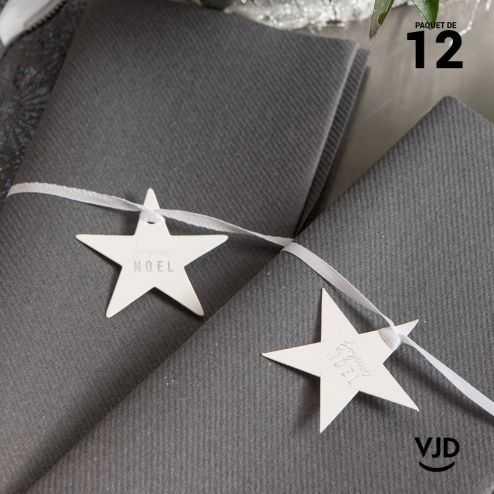12 marques-place Joyeux Noël avec ruban, couleur argent.