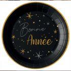 10 assiettes rondes noires Bonne année 22,5 cm