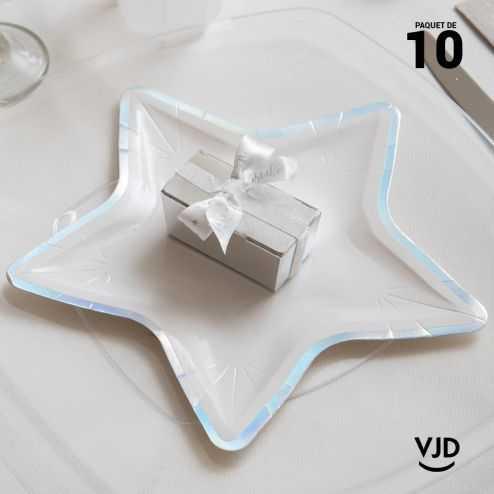 10 petites assiettes carton étoile irisé