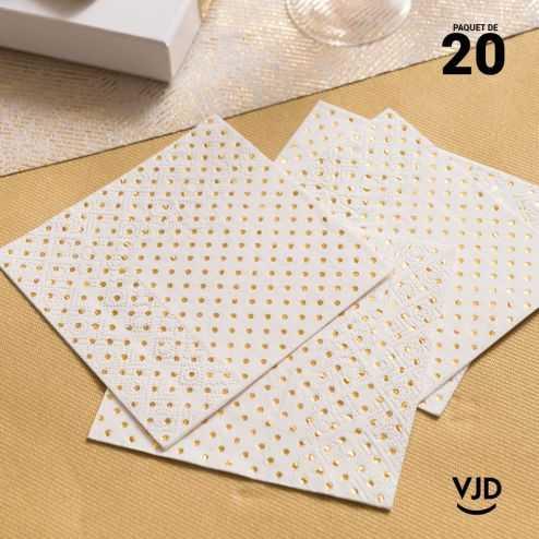 20 Serviettes papier à pois or 12,5 X 12,5 cm