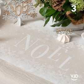 Chemin de table blanc-nature Noël enneigé en coton 3 mètres