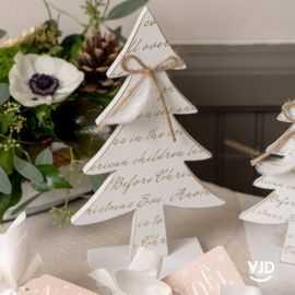 Décoration grand sapin message de Noël blanc 28 cm