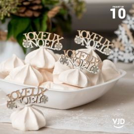 10 petits confettis Joyeux Noël en bois