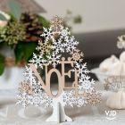 Petit sapin bois Noël 16 cm blanc et bois