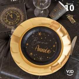 10 sous-assiettes brillantes dorés 33 cm