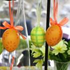 Oeufs décoration vert-jaune 4 cm
