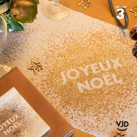 Chemin de table Joyeux Noël paillettes en coton 3 mètres