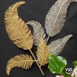 Décoration feuille palme sur tige or 25 cm