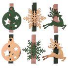 6 pinces en bois Noël enchanté kaki.
