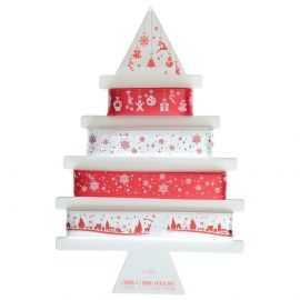 4 rubans cadeaux de fête. Rouge, blanc, étoilé présentoir sapin