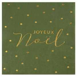 20 Serviettes papier vert-olive Noël velours 16,5 X 16,5 cm.