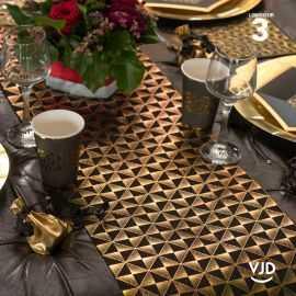 Chemin de table Bonne noir-or, Art déco coton 3 mètres