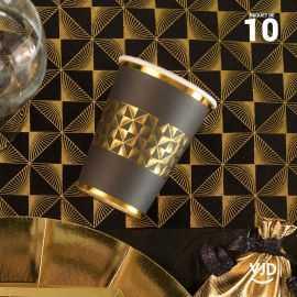 10 Gobelets carton noir et or Art Déco 20 cl