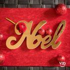 Décoration lettres Noël en bois métallisé Or