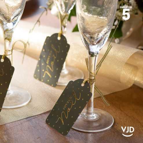 5 marques-places Noël Kaki effet velours avec cordelette 16 cm