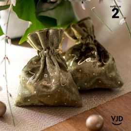 2 pochettes Joyeux Noël effet velours couleur kaki à lacet