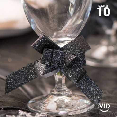 10 petits noeuds automatique gris pailletés