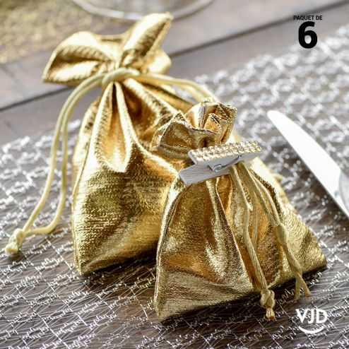 6 pochettes effet brillant couleur or à lacet