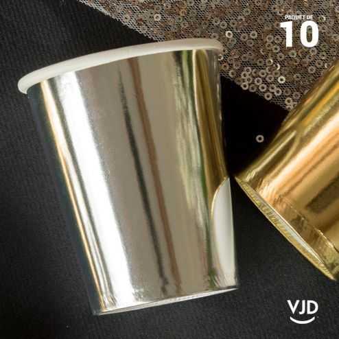 10 Gobelets carton brillant argent 20 cl