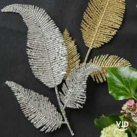 Décoration feuille palme sur tige argent 25 cm