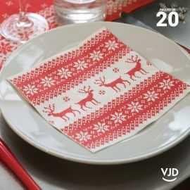 20 Serviettes papier cerfs rouges 16,5 X 16,5 cm.