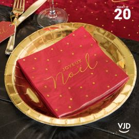 20 Serviettes papier Noël velours lettres or 16,5 X 16,5 cm.