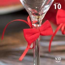 10 suspensions noeuds velours rouge avec ruban