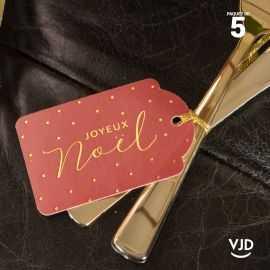 5 marques-places Noël rouge effet velours avec cordelette 16 cm