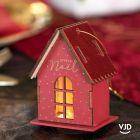 Décoration maison lumineuse rouge avec socle 9 cm