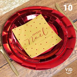 10 assiettes rondes rouge brillante 26 cm