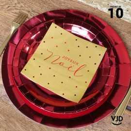 10 petites assiettes rondes rouge brillante 18 cm