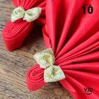 10 suspensions noeuds velours or avec ruban