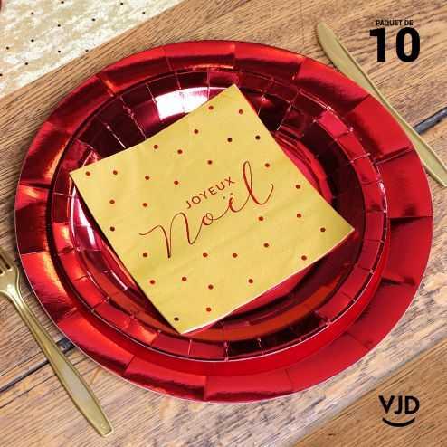 10 assiettes de fête, carton rouge métallisées.