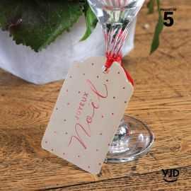 5 marques-places Noël or effet velours avec cordelette 16 cm