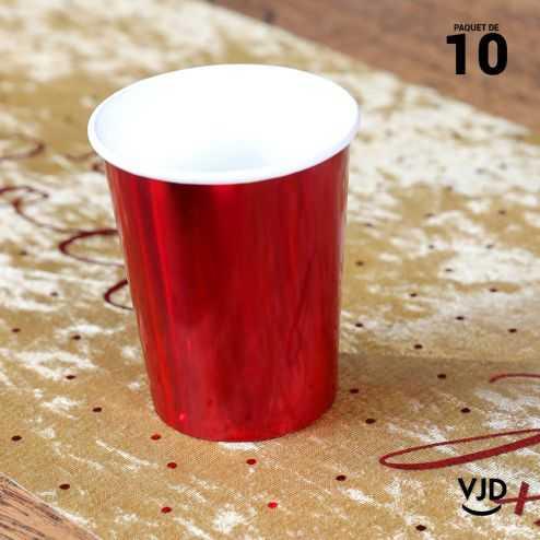 10 Gobelets carton brillant rouge 20 cl