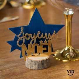 Décoration Joyeux Noël étoile marine sur socle 12 cm. En bois