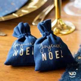 2 pochettes Joyeux Noël couleur marine à lacet