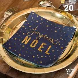 20 Serviettes papier bleu Joyeux Noël fourrure 16,5 X 16,5 cm.