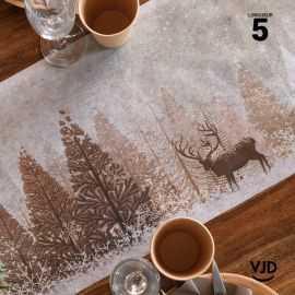 Chemin de table Forêt d'hiver avec cerf. 5 mètres