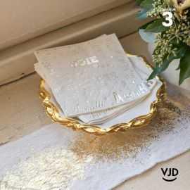 Mini-Chemin de table blanc éclat fourrure Or 3 mètres
