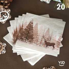 20 Serviettes papier Forêt d'hiver avec cerf 16,5 X 16,5 cm.