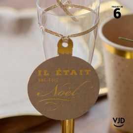 6 marques-places Il était une fois Noël Kraft avec cordelette 16 cm