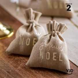 2 pochettes Joyeux Noël couleur naturelle à lacet